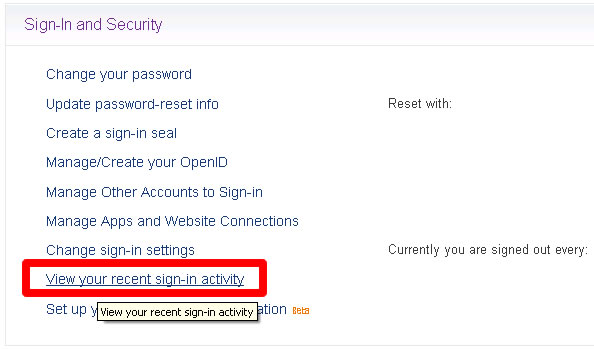 Yahoo Sign-In and Security